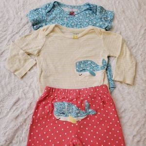 Carter's Baby Girls Whale 3 Piece Onesie Pant Set